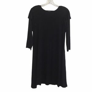 Annabelle Black Ruffle Long Sleeve Tshirt Dress